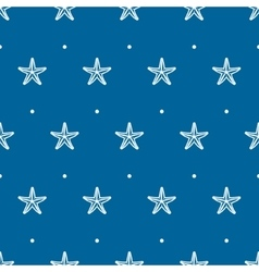 Blue seamless pattern with sea starfish vector