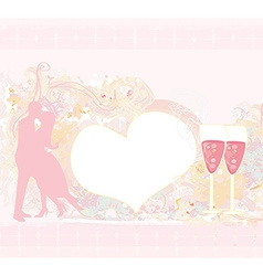 Card with silhouette of romantic kissing couple vector