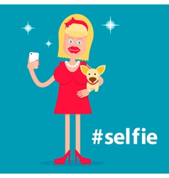 Glamorous girl with a dog making selfie vector