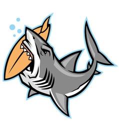 Shark bite a surfboard vector