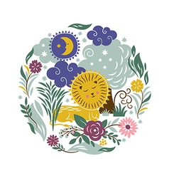 Sleeper lion with a entourage of trees and flowers vector
