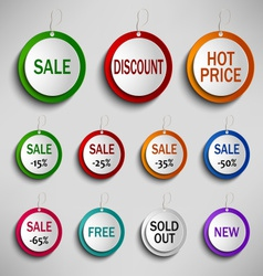 Round color labels tags for shopping vector