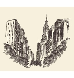 New york city architecture engraved vector