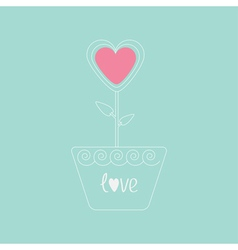Heart flower in pot pink and blue love card flat d vector