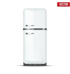 Retro fridge refrigerator isolated on white vector
