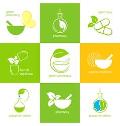 Pharmaceuticals icons set vector
