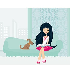 Teen girl reading a book in her room vector