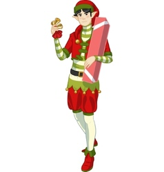 Christmas elf asian boy with gift lineart vector