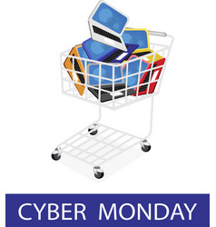 Laptop computer in cyber monday shopping cart vector