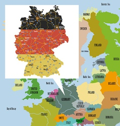 Original map of europe and germany vector