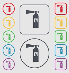 Fire extinguisher icon sign symbol on the round vector