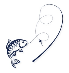 Fish on the hook and rod vector