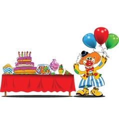 Clown at a birthday party vector