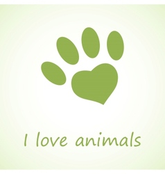 Animal foot print in eco style vector