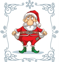 Broke santa cartoon vector