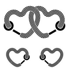 Shoelace linked hearts black white symbols vector