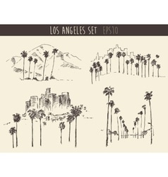 Set los angeles california skyline engraved sketch vector