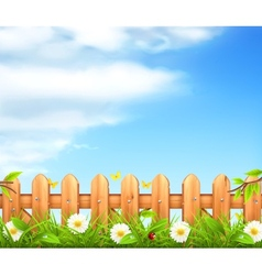 Spring background grass and wooden fence vector