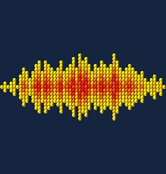 3d yellow sound waveform made of cubes vector