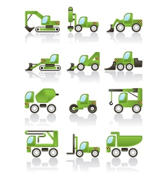 Building vehicles icons set vector