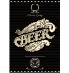 Black template for the cover of beer menu vector