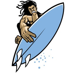 Surfer in action vector