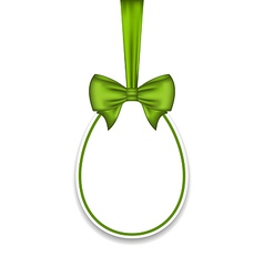 Easter paschal egg with green bow isolated on vector
