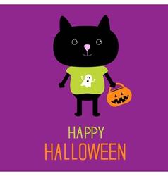 Cat with halloween trick or treat pumpkin bucket vector