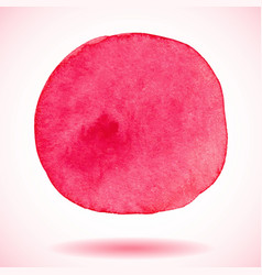 Red isolated watercolor paint circle vector