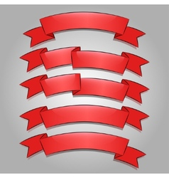 Red banners or ribbons set vector