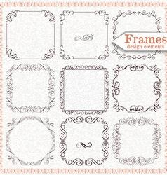 Set ornate vintage frames vector