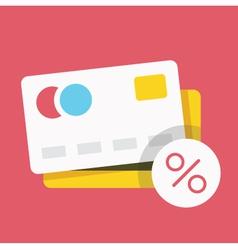 Credit card and percent sign icon vector