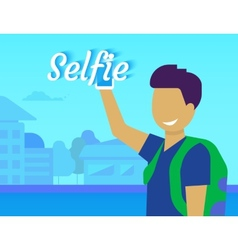 Selfie of funny guy vector
