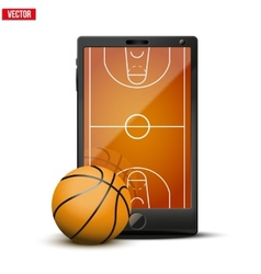 Smartphone with basketball ball and field on the vector
