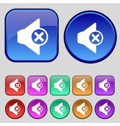 Mute speaker sign icon sound symbol set of vector