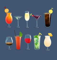 Drinks glasses set vector