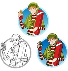 Christmas elf caucasian boy with gift set vector
