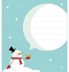 Snow man card vector