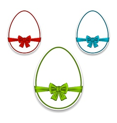 Easter set eggs wrapping colorful bows vector