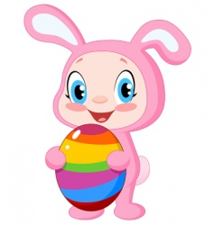 Baby with easter egg vector