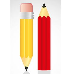 Yellow and red pencil isolated on white background vector