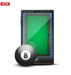 Smartphone with billiard ball and field on the vector