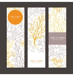 Magical floral vertical banners set pattern vector