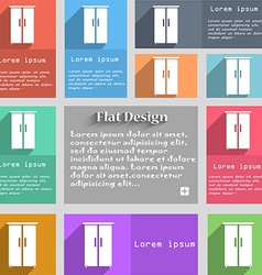 Cupboard icon sign set of multicolored buttons vector