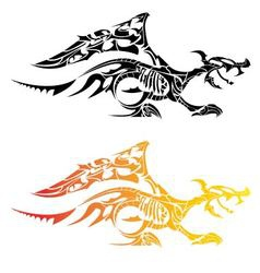 Black tattoo dragon walk on white background vector