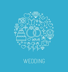 Wedding emblem in outline style vector