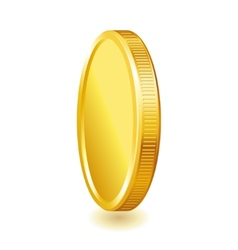 Golden shiny coin isolated on white background vector
