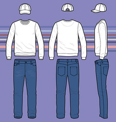 Sweatshirt cap and jeans set vector
