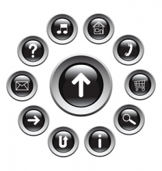 Glossy buttons with symbols vector
