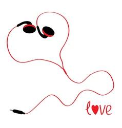 Black and red earphones in shape of heart vector